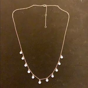 Rose Gold zircons necklace. 925 Sterling Silver